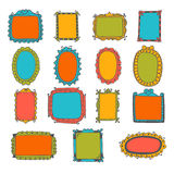 Set of hand drawn frames. Cute design elements. Sketchy frames a Royalty Free Stock Image