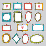 Set of hand drawn frames. Cute design elements. Sketchy ornament Royalty Free Stock Image