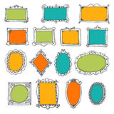 Set of hand drawn frames. Cute design elements. Sketchy ornament Royalty Free Stock Photo