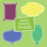 Set of hand-drawn frames felt-tip pen Royalty Free Stock Photos