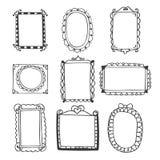Set of hand drawn frames. Vintage photo frames on white backgrou Stock Images
