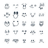 Set of hand drawn funny faces. Cute cartoon emotional faces set Stock Photos