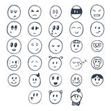 Set of hand drawn funny faces with different expressions. Smiley Royalty Free Stock Photo