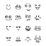 Set of hand drawn funny faces. Happy faces. Different emotions. Royalty Free Stock Images