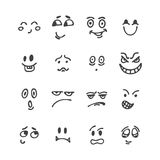 Set of hand drawn funny faces. Happy faces. Sketched facial expr Royalty Free Stock Photography