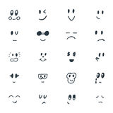 Set of hand drawn funny smiley faces. Sketched facial expression Stock Photos