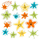 Set of hand drawn funny stars. Cartoon comic style for your desi Stock Photography