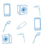 Set of hand drawn gadget icons Stock Photography