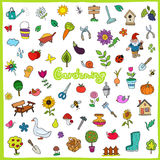 Set of hand drawn gardening icons Royalty Free Stock Images