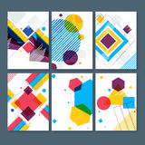 Set of hand drawn geometric pattern cards. Set of abstract composition, Artistic Business Cards set, hand drawn geometric patterns, Correspondence letter Stock Photo