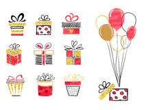 Set of hand drawn gift boxes in red, black and golden colors. Vector illustration Stock Image