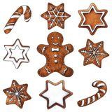 Set of hand drawn gingerbreads Stock Images