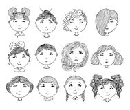 Set of hand drawn girl faces. Cartoon girls. Avatar collection. Vector illustration.  Stock Photography