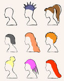 Set of 9 girls with different hairstyles Royalty Free Stock Photos