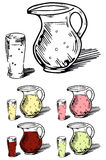 Set of hand-drawn glass jars and glasses. Of lemonade - isolated on white Stock Photography
