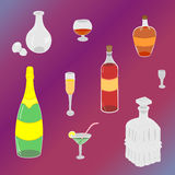 Set of Hand-Drawn Glasses, Bottles and Glass Decanters. Painted Flat Glasses. Doodle Style. Royalty Free Stock Images