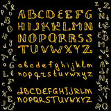 Set of hand drawn glitter golden alphabet in calligraphy brush Royalty Free Stock Photography