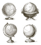 Set of hand drawn globes. Vector illustration. Royalty Free Stock Images