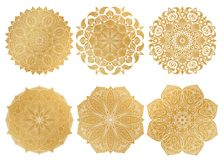 Set of 6 hand-drawn gold Arabic mandala on white background.Ethnic ornament. Set of 6 hand-drawn gold Arabic mandala on white background. Ethnic vector Stock Images