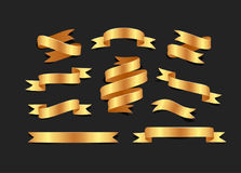 Set of hand drawn gold satin ribbons on blacke background isolated. Flat objects for your design. Vector art illustration. Set of hand drawn gold satin ribbons vector illustration