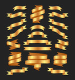 Set of hand drawn gold satin ribbons on blacke background isolated. Flat objects for your design. Vector art illustration. Set of hand drawn gold satin ribbons royalty free illustration