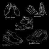 Set hand drawn graphic Men Footwear on black background. Casual and sport style for man. Shoes for all seasons. Doodle Stock Images