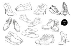 Set hand drawn graphic Men and women Footwear, shoes. Casual and sport style, gumshoes for Shoes for all seasons Royalty Free Stock Image