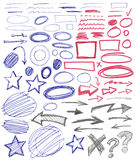 Set of hand drawn graphic signs. Royalty Free Stock Images