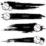 Set of hand drawn grunge banners with baseball. Black background with splashes of watercolor ink and blots. Vector illustration Royalty Free Stock Photography