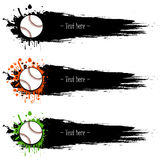 Set of hand drawn grunge banners with baseball. Black background with splashes of watercolor ink and blots. Vector illustration Royalty Free Stock Photos