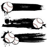 Set of hand drawn grunge banners with baseball. Black background with splashes of watercolor ink and blots. Vector illustration Royalty Free Stock Images