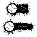 Set of hand drawn grunge banners with baseball. And field. Black background with splashes of watercolor ink and blots. Vector illustration Stock Photo