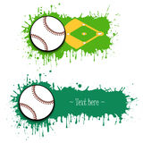Set of hand drawn grunge banners with baseball. And field. Green background with splashes of watercolor ink and blots. Vector illustration Stock Images