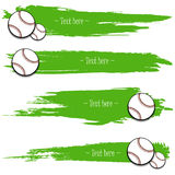 Set of hand drawn grunge banners with baseball. Green background with splashes of watercolor ink and blots. Vector illustration Royalty Free Stock Images