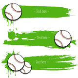 Set of hand drawn grunge banners with baseball. Green background with splashes of watercolor ink and blots. Vector illustration Stock Photo