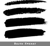 Set of Hand Drawn Grunge Brush Smears Royalty Free Stock Photos