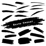 Set of Hand Drawn Grunge Brush Smears Royalty Free Stock Images