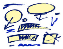 Set of hand drawn grunge design elements, frames, speech bubbles, boxes and brush strokes. Royalty Free Stock Photos