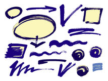 Set of hand drawn grunge design elements, frames, speech bubbles, boxes and brush strokes. Stock Photos