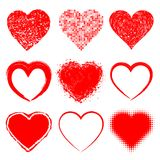 Set of Hand Drawn Grunge Hearts Royalty Free Stock Photography