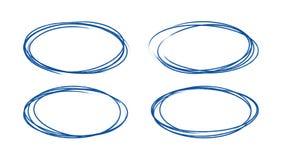 Set of hand drawn grunge style dark blue vintage ball pen scribbles on white paper background vector illustration