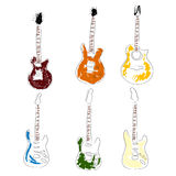 Set of hand drawn guitars Stock Photo