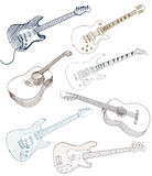 Set of hand drawn guitars Stock Photo
