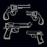Set of hand drawn guns Stock Photography
