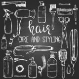 Set of hand drawn hair styling and care products and items on the blackboard vector illustration