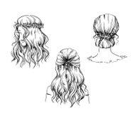 Set of hand drawn hairstyles, vector sketch. Fashion illustration.  vector illustration