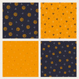 Set of hand drawn Halloween seamless patterns Stock Images