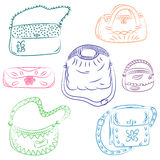 Set of Hand Drawn HandBags. Colorful Fashion bag silhouettes. Sketch Style. Vector Illustration Royalty Free Stock Photography