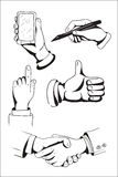 Set of hand drawn hands. Royalty Free Stock Photo