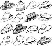 Set of hand drawn hats collection. Royalty Free Stock Photography